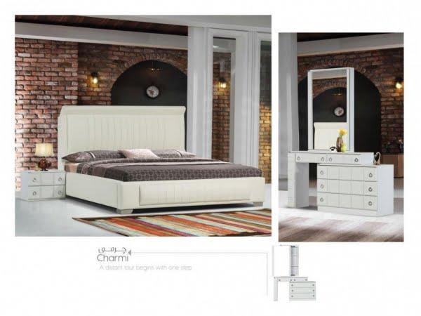 تخت و سرویس خواب مدل چرمی سفید- خوابستان