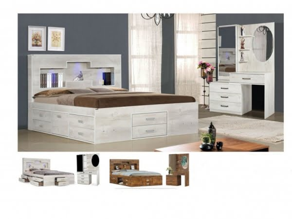 تخت و سرویس خواب مدل ویکتوریا آنتیک کاج- خوابستان